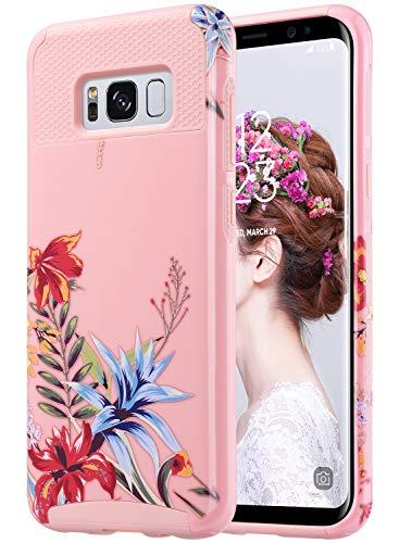 ULAK Capa S8 Plus, Capa Galaxy S8 Plus, Capa Híbrida Para Samsung Galaxy S8 Plus 2017 Versão Capa Dura De 2 Peças De Estilo De Camada Dupla Rosa + Flor Tropical