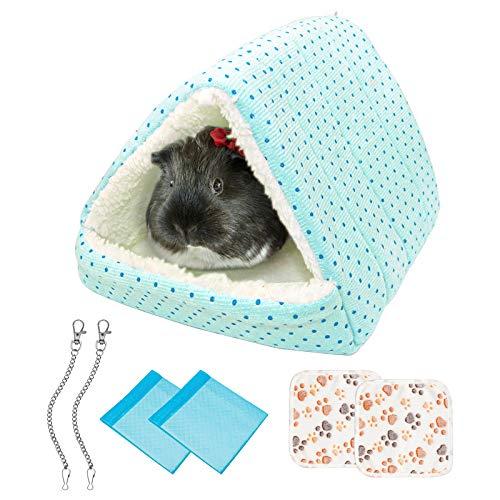 Hamster Hängematte Meerschweinchen Bett, Warm Kleintiere Haus Nest Hamster Käfig Zubehör mit 2 Haustierdecken Und 2 Wickelauflagen, für Ratten, Papageien, Hamster, Chinchillas, Meerschweinchen (H1)
