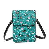 Bolso de hombro pequeño, diseño de caballo, estampado floral, color turquesa, para habitación de niñas pequeñas y caballos, bolsa cruzada para teléfono móvil, monedero ligero, bolso cruzado para mujeres y niñas