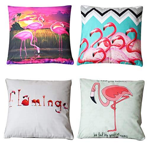 UnionKK 4 Stück Tropische Blätter Dekorative Wurfkissenbezüge Biber Home Decor Quadratische Kissenbezüge für Sofa Bett Stuhl 45,7 x 45,7 cm Art Deco 18x18 inch Muster 7