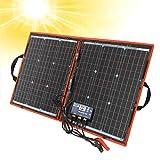 DOKIO - Kit de panel solar de 80W monocristalino portátil plegable para carga de batería de 12 V con controlador de salida USB, impermeable...