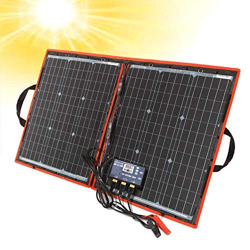 Dokio 80 Watt Solartasche Faltbares Mobiles Solar-Panel Mit Effektivsten Monokristallinen Zellen,Solar-Laderegler(2 Usb-Ports), Leicht Zu Transportieren(Gewicht: 2,1 Kg)Funktioniert Mit 12v-Batterien