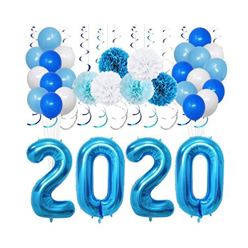Amosfun 40 stks 2020 Foil Aantal Ballonnen Mylar Latex Helium Letter Ballonnen Ophangen Swirls Streamer Props voor 2020 Nieuwjaar Eve Festival Feestartikelen Graduatie Decoraties (Gouden)