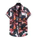 Camisa Hombre Vacaciones Verano Estampado Casual Camisa Playa Hombre Manga Corta Regular Fit Hawaii Camisa Natación Surf Ligero Transpirable Camisas Ocio Hombre N-014 M