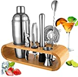 Shuban Cocktail Shaker Set with Stand | Perfect Bartender Kit for Home and Bar-Bar Tools Set: 24oz Martini Shaker, Muddler, Jigger, Strainer, Mixer Spoon, Tongs, Corkscrew, 2 Liquor Pourers 10 Piece