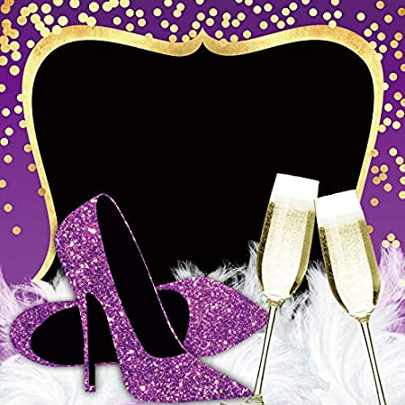 Leyiyi 10x10ft Romantic Birthday Party Backdrop Purple High Heels Goblets White Feathers Customized Photography Background Photo Booth Background Studio