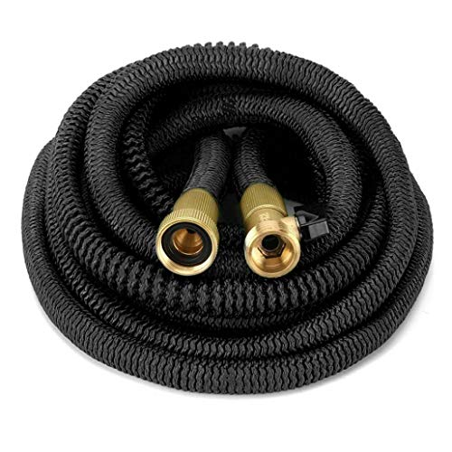 Review LC-Tools Heavy Duty Brass Fittings Shut Off Water Valve Expandable Garden Triple Hose - 75ft