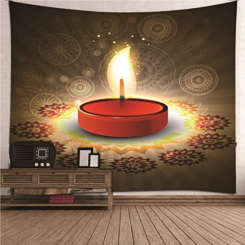 Daesar Tapestry Wall Bedroom, Psychedelic Tapestry 3D Candle Vintage Pattern Wall Hangings For Bedroom Red Brown Tapestry 240x220CM Polyester Hanging Tapestry
