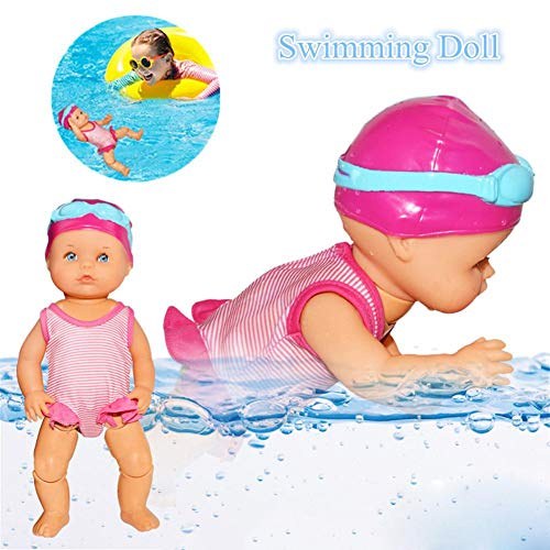 Sanmubo Electric Swimming Doll Art Cute Doll Home Decorations Holiday Birthday Gift Electric Kids Water Bathtub Toy - Battery Operated and Really Swims