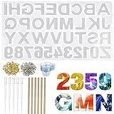 Lhedon Stampo in Silicone per Fai da Te, con Numeri e Lettere Dell'alfabeto in Resina Epos...
