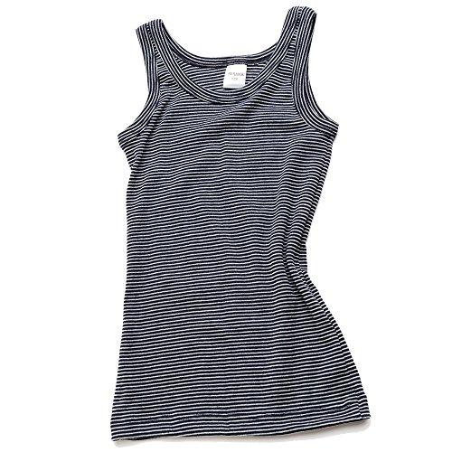 HERMKO 2680005 Knaben Unterhemd angeraut, Größe:116, Farbe:Marine Ringel