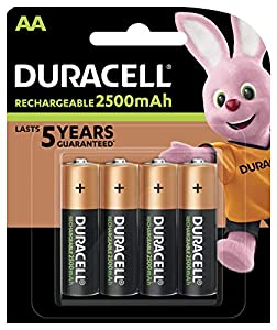 Duracell Piles rechargeables AA 2500mAh Recharge Ultra–Lot de 4–Charge Pre/Stay starged remplacer 2400