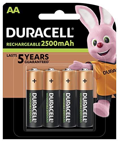 Duracell Wiederaufladbare Batterien AA 2500 mAh – 4 Stück – vorgeladen, Stay Starged Replace 2400