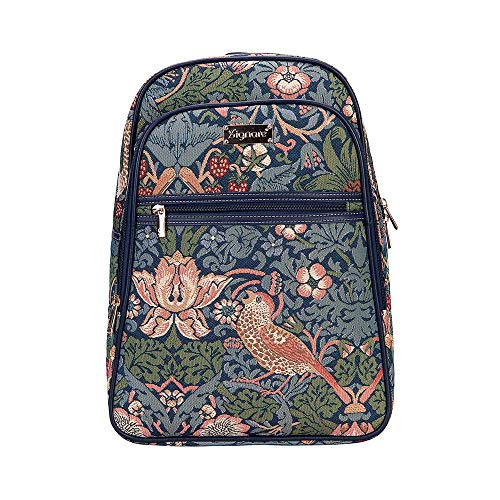 Signare Gobelin-Rucksack für Damen, Computerrucksack, Büchertaschen für Damen, mit William Morris Strawberry Thief Blue Design (BKPK-STBL)