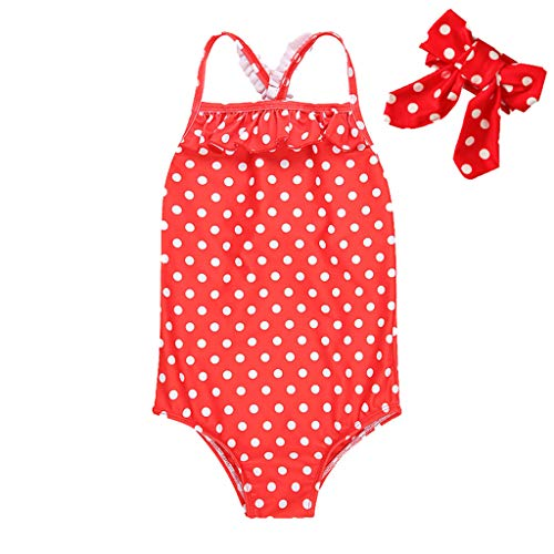 milkcha Toddler Swimsuit Girl,Toddler Baby Kids Girls Strap Ruched Dot Swimsuit Swimwear Romper Hairband Set