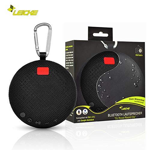 LEICKE Bluetooth Lautsprecher DJ Roxxx | Wasserdichter tragbarer Lautsprecher | Kabellose Tragbare Musikbox | Kompatibel mit Siri und Google Assistant (Round Clip)