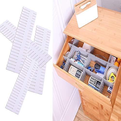 RUIYELE 8 paquetes de separadores de cajones ajustables para almacenamiento de cajones, 47 x 7 cm, separadores de ropa interior para ropa interior desorden, color blanco