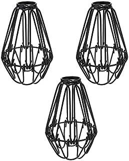 SODIAL Jaula de Lámpara de Protector de Bombilla Hierro de 3 Piezas, Ventilador de Techo y Cubiertas de Bombilla, Protector Lámpara Colgante Lámpara Colgante Estilo Vintage Industrial