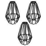 Cliettilw Juego de 3 protectores de bombilla de hierro, ventilador de techo y cubierta de bombillas, estilo industrial vintage