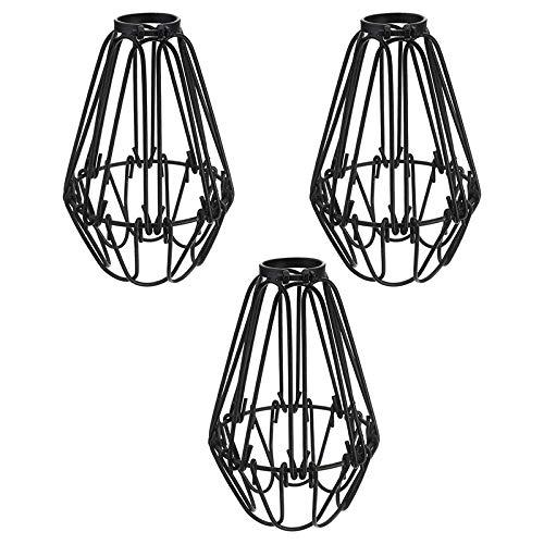 Wobekuy Tulipas para lámparas de techo, 3 unidades, color negro, alambre, lámpara de techo, lámpara de pie para cocina, dormitorio, bar, cafetería, restaurante, 3 piezas