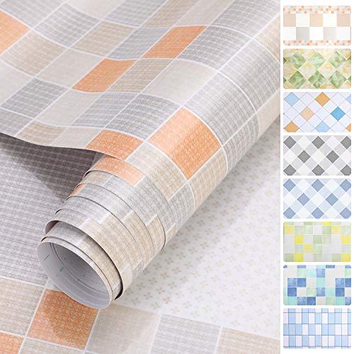 iKINLO Küchenrückwand Folie Selbstklebende Fliese Klebefolie Tile Style Folie PVC Tapete Fliesenaufkleber für Küchen Bädern Wand Dekorfolie 0.61 * 5M