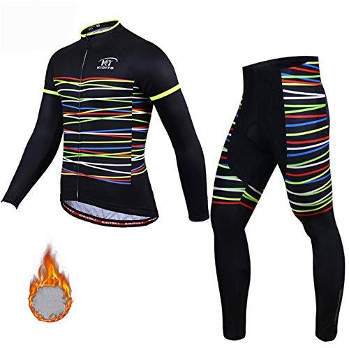 Ciclismo Maillot Invierno Hombres Jersey Pantalones Largos Culote Mangas Largas de Ciclismo Conjunto de 3D Acolchado Gel Ropa Térmica Maillot para Deportes al Aire Libre Ciclo Bicicleta,QX1,4XL
