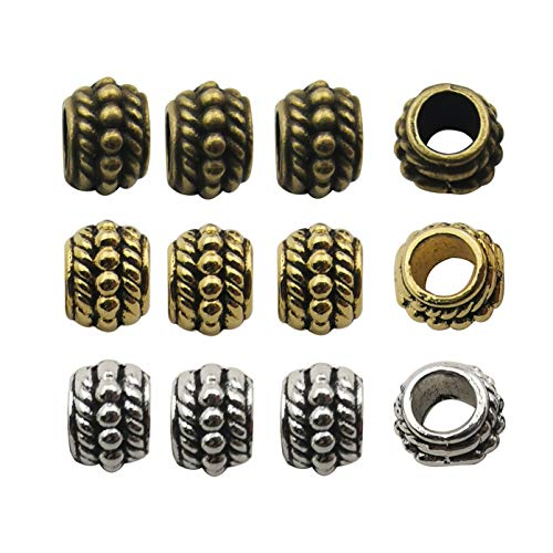 120pcs Antique Silver Bronze Gold Mixed 8mm Loose Spacer Bead,Craft Supplies Charms Pendants for Jewelry Findings Making Accessory for DIY Bracelet Necklace (M232)