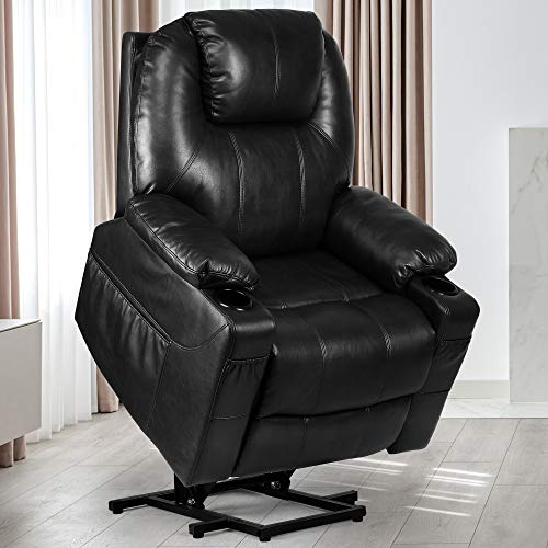YITAHOME Power Lift Recliner Chair for Elderly, Lift Chair with Heat and Massage, Faux Leather Recliner Chair with 2 Cup Holders, Side Pockets & Remote Control for Living Room (Black)