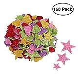 Supvox Pegatinas con purpurina Forma de corazón con forma de estrella de espuma para proyectos de bricolaje en el techo de la pared 150pcs (patrón de color aleatorio)
