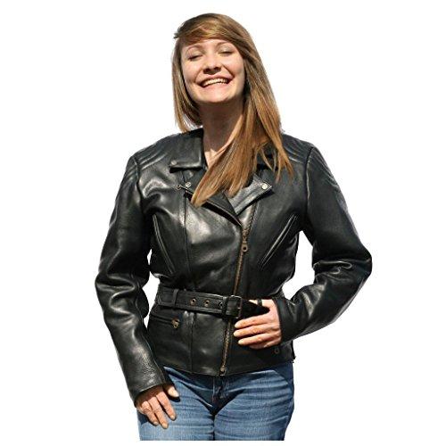 """Skorpion """"Classic """" Damen Freizeit- und Motorradlederjacke aus Glattleder für Chopper und Biker in schwarz, Gr.: 44"""