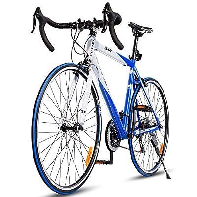 Goplus Commuter Bike Road Bike Quick Release Aluminum 700C 21 Speed (Blue)