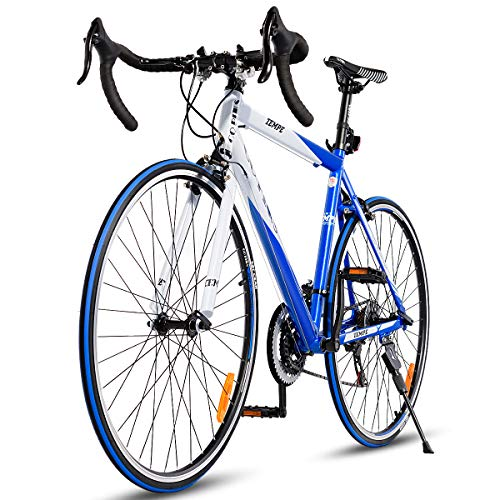 Goplus Commuter Bike Road Bike Quick Release Aluminum 700C 21 Speed (Blue)