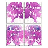 PositiveSayingsWallDecor Words - Motivational Posters Kids Painting Inspirational Pictures Office Classroom Abstract EmpowermentArt WallPicturesforTeenageGirlBedroom Set 8x10inches No Frame