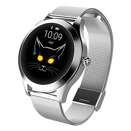 HQPCAHL Smartwatch Reloj Inteligente para Mujeres, Pantalla táctil de 1,04' con Monitor De Frecuencia Cardíaca/Calorías Podómetro/Sueño/Ciclo Menstrual Femenino, Reloj Deportivo,Plata