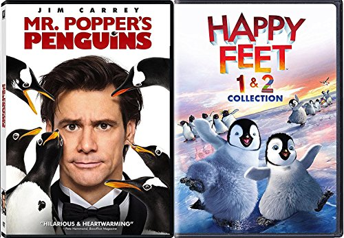 Penguins Collection Animated Happy Feet 1 & 2 and Mr. Poppers Penguins 3-Movie Bundle