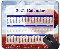 2021年のカレンダーマウスパッド、休日、ハート型の木の赤いマウスパッド