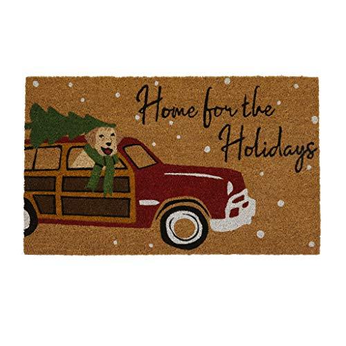 Elrene Home Fashions Home for The Holidays clásico Christmas - Felpudo de Fibra de Coco para Entrada/Puerta Delantera/Porche, 45,7 x...