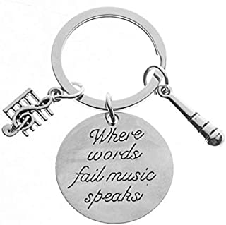 Infinity Collection Music Keychain Gift - Musically Keychain- Treble Clef Jewelry - Singer Microphone Keychain, Perfect Mu...