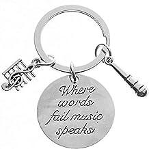 هدیه Keychain Music Keyboard Infinity Collection - جواهرات کلاهبرداری موزیکی Keychain - Keychain میکروفون خواننده ، هدایای عاشق موسیقی کامل