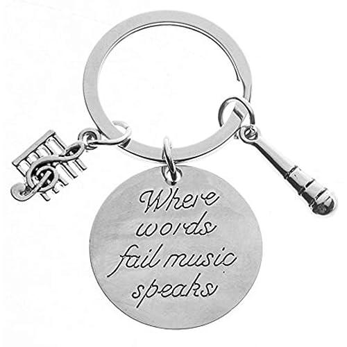 Music Keyring Singers Gift Love Music Microphone Charm Inspirational Keychain