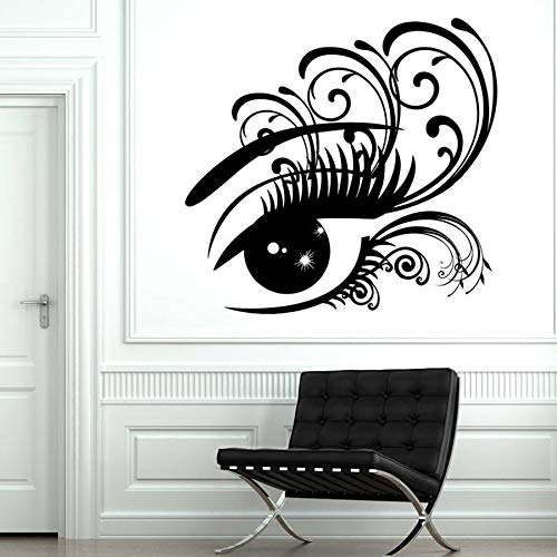 Tatuajes de pared mujer señoras pestañas salón de belleza decoración de interiores niñas dormitorio vinilo pegatinas de pared ventana vidrio decoración mural
