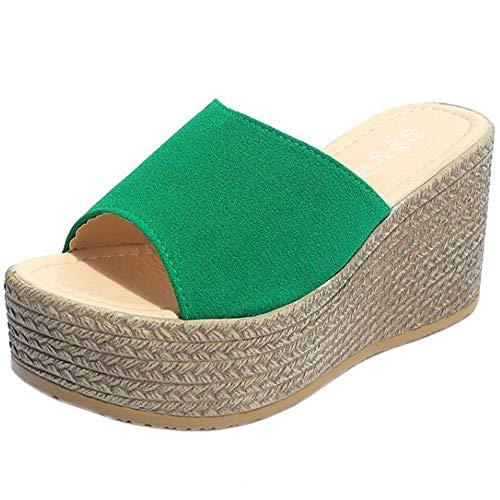 COOLCEPT Mujer Moda Mulas Tacón De Cuña Slides Sandalias Plataforma Verano Zapatos Tacon Alto Sandalias Sin Cordones Green Talla 34 Asian