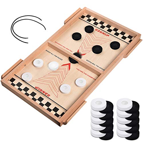RUCHBA Fast Sling Puck Game Board Large Size Wood Table Desktop Battle Hockey Game Toy String Speed Paced Action Winner Board Games Toys for Adult Parent Kids Children Family