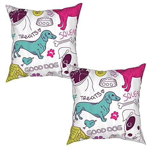 Pack de 2 fundas de almohada,¡Me encantan los perros Garabatos Huella Comida Casa Perrera Cuenco Bola,Funda de Cojín Cuadrado de Protectora de Almohada para Sofá Cama Decoración del Hogar (50x50cm)x2