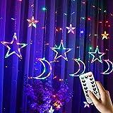 Guirnaldas Luminosas Estrellas Cortina Luces, PTN Luces de Cortina, LED Luces de Secuencia, USB Operado con Control Remoto 8 Modos, Adecuado para Cortinas, Escaparates, Pasillos, Patiors 2.5M(color)