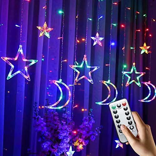 LED Lichtervorhang, PTN Lichtervorhang Sterne Lichterkette, Sternenvorhang Lichter, USB Betrieben mit Fernbedienung 8 Modi, Geeignet für Vorhänge, Schaufenster, Korridore 2,5M(Farbe)