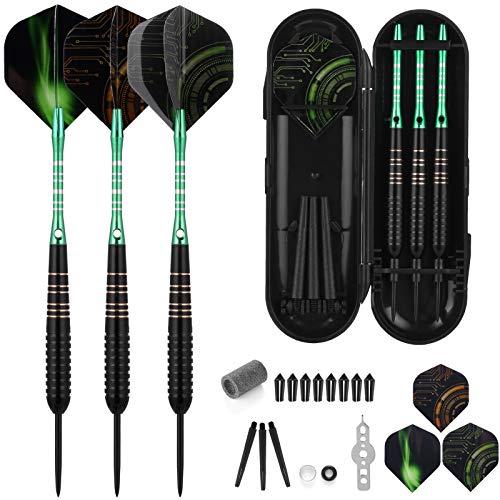 Kapsuen Darts Metal Tip - 3 Pieces Steel Darts 23 Grams Professional Darts with Green Aluminium Shaft 9 Dart Flights, Anti-Loose Rubber Rings, Sharpener, Protection Dart Accessory Set for Beginners