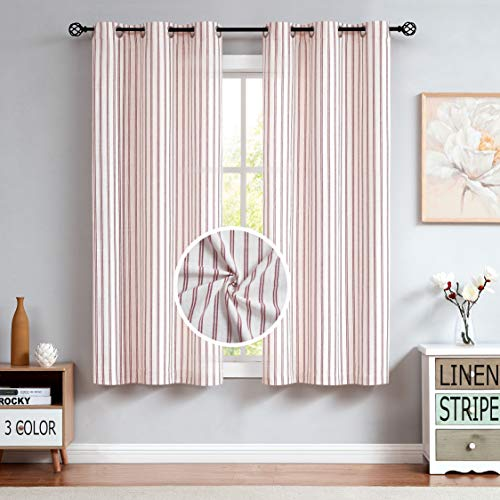 """Randall Linen Semi Sheer Curtain Panels 84"""" Long for Living Room Stripe Farm House Rustic Contemporary Window Treatment Sets Drape, Red, 40""""x84""""x2, Pairs to GO"""