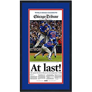 Framed Chicago Tribune At Last Cubs 2016 World Series Champions 17x27 Baseball Newspaper Cover Photo Professionally Matted
