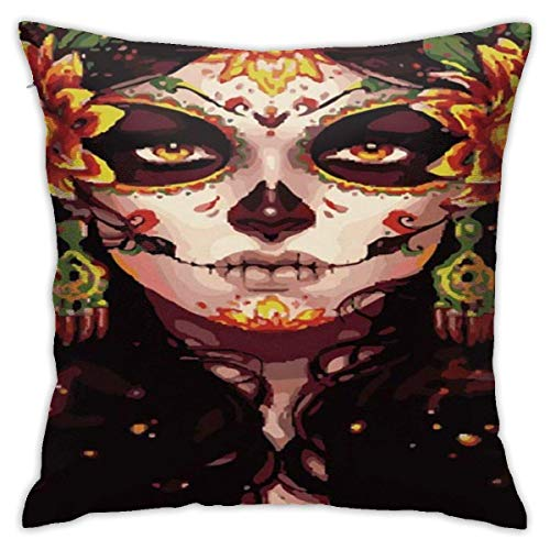 ChenZhuang Skull Bird Flower Halloween Cotton Linen Pillow Case Sofa Home Bedroom Car Cushion Cover Decoration 18'' x 18'' in.